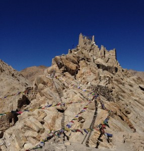 The remains of Shey fort that offered historic refuge above Shey gompa, south of Leh and near Thiksey/Tikse, Ladakh.