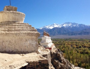 Stupas pointing across the valley. Thiksey/Tiksey or Shey gompa (will review notes), Ladakh, India.