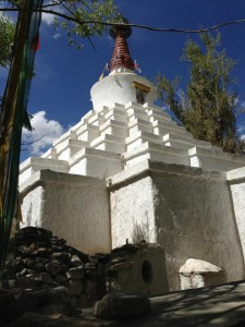 "A stupa (likely ""sankar"") found at the beautiful and shaded twisting end of Karzoo road, Leh"