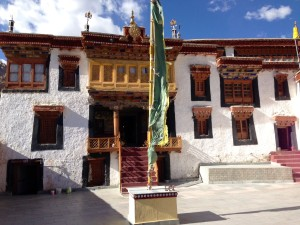 The courtyard of Likkir monastery, a short north off of the Leh-Kargil road midway between Leh and Lamayuru.