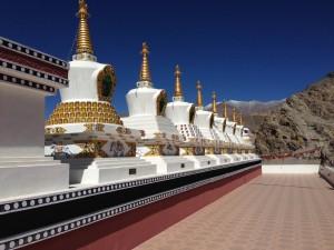 Modern or restored stupas at Tikksey monastery, alway circle clockwise.