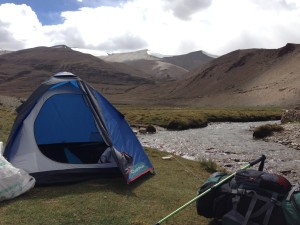 Camping along a creek a few hours walk south of TsoKar.