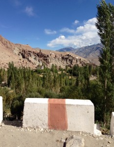 A view of the monastery at Basgo, viewed from across the way as the Leh-Kargil Rd begins a series of switchbacks after just passing under the cliff perched site.
