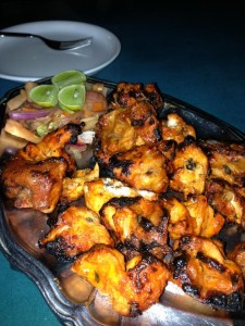 A full order of the delicious tandoori cooked chicken tikka, from the Budshah Inn restaurant in Leh, Northern Indian