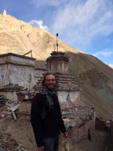 The author is front of a stupa at the monastery of Sumdo, an hour trek from the road following the Zaskar from Nimmu, turning off before Chilling.