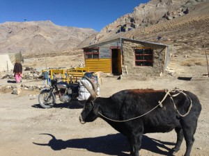 "One of about 30 similar structures, this woman operates a ""hotel"" and offers coffee and food from the roadside as I pass through Sarchu mid-morning of day two of the Leh to Manali Highway. Outside, it is warm in the sun, with a steady cool wind that reminds you of what the night can bring if left exposed."
