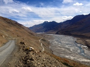 Approaching Kaza from the high road north of town that led me away to Kibber a few hours earlier.