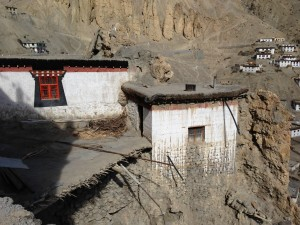Clearly, there was some utility is creating a path across this section of air that induced the monks to pack earth over willow crossed timbers,  unsupported along the hypotenuse. I took care to stay away from all edges, here realizing once across that it was most apt at Dhankar Gompa (LP) or Dankhar Gompa at Dankar village (NGeo).