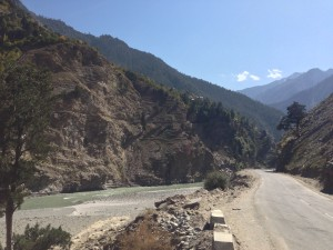 Following the Sutlej River on the north side after crossing 6 km south of Khab, I am now running west southwest towards Shimla. The country is very different from Spiti; very wide and green allow the road to stay alongside the river though at times it overruns and takes out section of road according to LP.