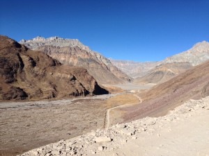 Reaching the Spiti river at last, it is wide and vastly empty country.